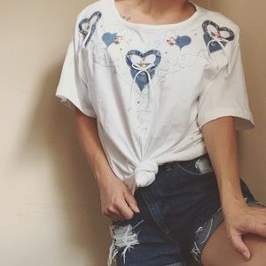 Vintage denim embroidered heart and pearl tee